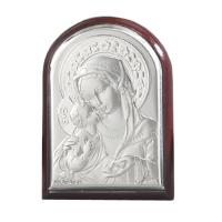 Iconiță pe Foiță de Argint - Fecioara Maria cu Pruncul