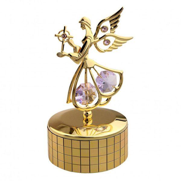 Carusel Muzical Îngeraș Auriu – Cristale Swarovski Mov